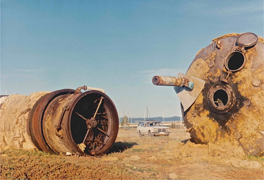 Rusty hoppers left on Lartelare's site after the demolition of the CSR Refinery. Schultz made recordings in and around the hoppers. CD booklet image, courtesy Chester Schultz.