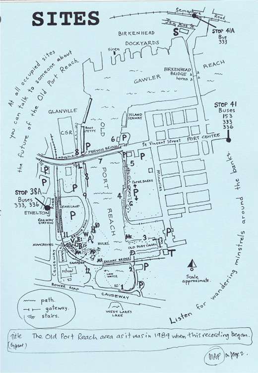 Map of the Old Port Reach as it was in 1989 when Schultz began recording. CD Launch programme, 1995; courtesy Chester Schultz.