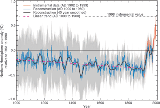 Millennial Northern Hemisphere (NH) temperature reconstruction (blue) and instrumental data (red) from AD 1000 to 1999, adapted from Mann et al. (1999). Smoother version of NH series (black), linear trend from AD 1000 to 1850 (purple-dashed) and two standard error limits (grey shaded) are shown. Image courtesy of the IPCC, Third Assessment Report, Figure 2.20.21