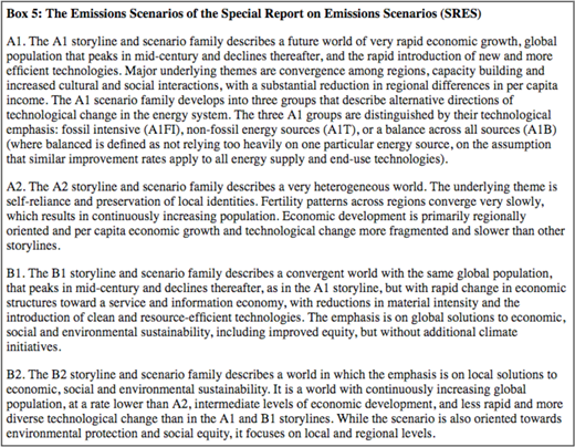 Descriptions of the storylines from the Special Report on Emissions Scenarios. Image courtesy of the IPCC, Third Assessment Report, F.1 Box 5.32