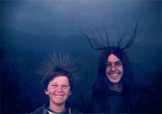 Sean and Michael McQuilken becoming-lightning at Moro Rock, California (1975). Photograph © Michael McQuilken
