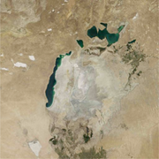 The Aral sea, once the fourth largest lake in the <b>world</b>, has shrunk by 90% ...