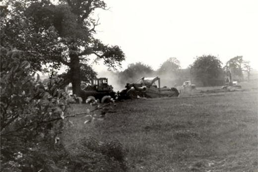 The start of the destruction of the farm, c. 1977.