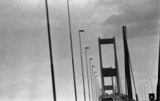 Crossing the Severn Bridge, c. 1979.