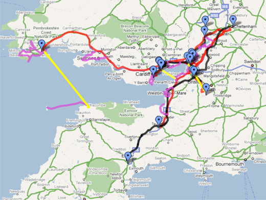 An estuary-shaped life, with the Severn bridges as time–space fulcrums (from a personal Google map).