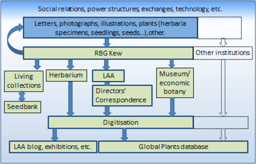 The selection process from the writing of the letters to their digitisation (LAA is the acronym for Library, Art and Archives). Figure by author.
