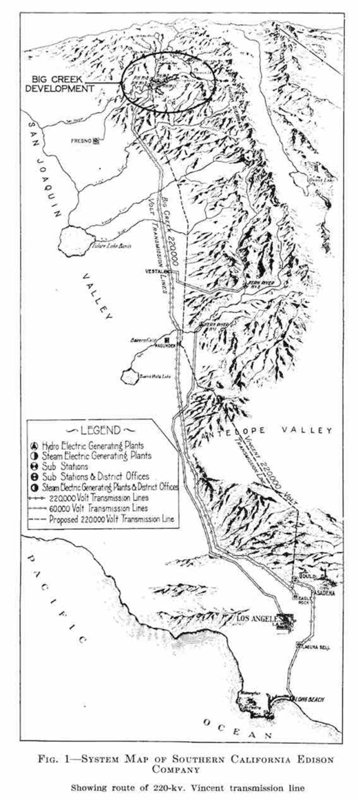 """System map of Southern California Edison Company circa 1926. Source: C.B. Carlson and Harold Michener, """"The Vincent 220-Kv. Transmission Line: Engineering and Construction Features,"""" Journal of the American Institute of Electrical Engineers 45, no. 12 (1926): 1215-1229, on 1216. Reprinted with permission of the Institute of Electrical and Electronics Engineers."""
