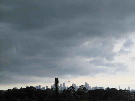 The view from Earlwood Farm before a storm, 2014. Photograph by author.