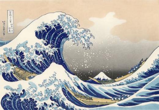 Katsushika Hokusai, Under a Wave at Kanagawa, c. 1829, woodblock print