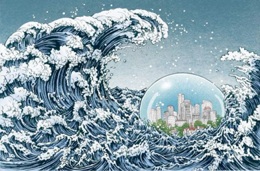 "Yoko Shimizu, illustration for Michael Cockram, ""Bracing for Climate Change,"" Green Source Magazine, January/February 2013. Copyright Yoko Shimizu http://yukoart.com/blog/climate-change-and-the-city, blog entry, February 11, 2013. Reproduced with Permission."
