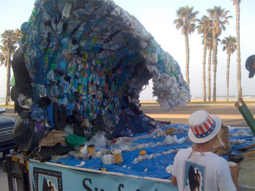 Andre Faubert, Huntington Beach Fourth of July Parade Float, 2011, 580 pounds of refuse from the shores of Huntington Beach, California. Copyright Huntington Beach / Seal Beach Chapter of the Surfrider Foundation. Reproduced with Permission.