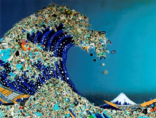 Bonnie Monteleone, Plastic Ocean: In Honor of Captain Charles Moore, from the What Goes Around Comes Around collection, 2011, trash. Copyright Bonnie Monteleone. Reproduced with Permission.