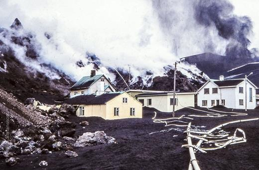 Cooling of lava, Westman Islands, 1973. Photo by Kristján Stefánsson