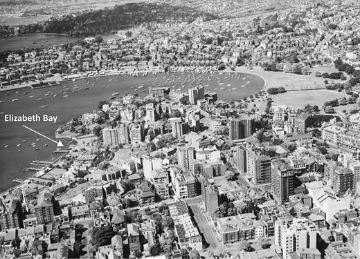 Pre–World War II aerial view with Elizabeth Bay at the left and Rushcutters Bay, center. City of Sydney Archives