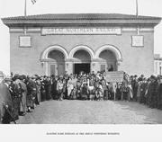 The Blackfeet Indians pose in front of the Great Northern Building <b>on</b> the M...