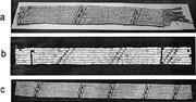 (a) Greenville Treaty belt (fragment). Note cut fringe <b>on</b> left. Courtesy of...