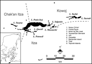The Petén lakes region, showing Contact-period ethnopolitical <b>groups</b> and si...