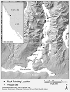 The <b>study</b> area location of rock paintings and mentioned village sites in Ts...