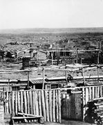 <b>Arikara</b> section of Like-A-Fishhook Village, ca. 1870. Courtesy of the State...