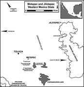 Map showing Jilotepec and Metepec on the western boundary of <b>Mexico</b> State, ...