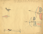 <b>Chapter</b> 8 concerns archery games for young boys. Drawing by Douglas Thomas,...