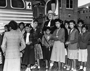<b>School</b> Superintendent, Dr. George A. Boyce with new arrivals at the Intermo...