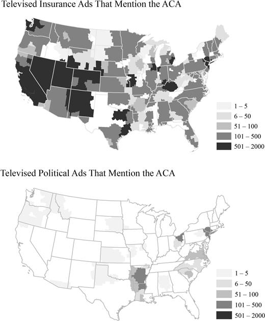 Geographic Variation in Volume of Televised Insurance Ads and Televised Political Ads That Mentioned the Affordable Care Act in the Two Weeks Following Rollout of the New Marketplaces, October 1–17, 2013
