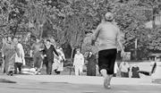 Women's exercise <b>often</b> begins with a fast walk followed by a workout on the...