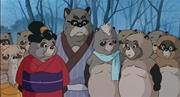 Takahata's tanuki represented anthropomorphically in <b>traditional</b> Japanese a...