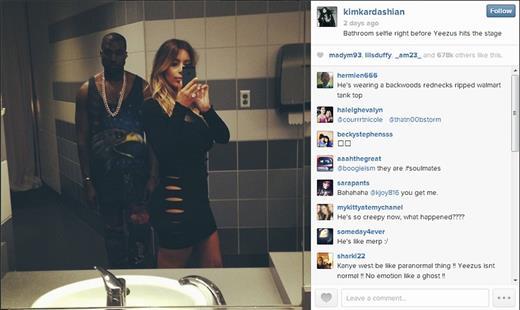 Bathroom selfie by Kim Kardashian (@kimkardashian)