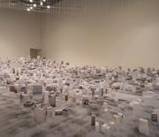 Han Feng,  Floating City  (2013). Installation, color inkjet and parchment ...