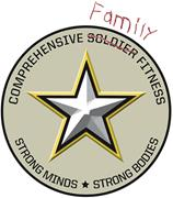 Three versions of the US Army CSF logo, with increasing emphasis <b>on</b> the fam...