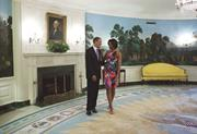 President Barack Obama and First Lady Michelle Obama in the Diplomatic Rece...
