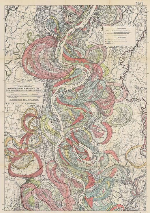 One of Harold Fisk's maps of the Mississippi River's historical meandering, created in 1944 for the US Army Corps of Engineers. Retrieved June 5, 2015, from lmvmapping.erdc.usace.army.mil.