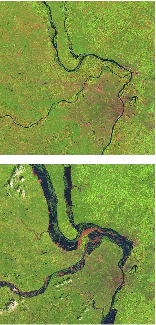 National Aeronautics and Space Administration (NASA) images showing the Mississippi River before and during the Great Midwest Flood of 1993. Created by Jesse Allen, Earth Observatory, using data provided courtesy of the Landsat Project Science Office. Retrieved May 14, 2015, from earthobservatory.nasa.gov/IOTD/view.php?id=5422.