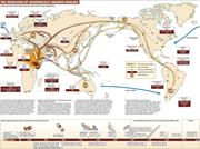 A stylized mapping of human migratory movement across the earth, produced a...