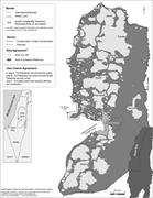 A map of the West Bank that indicates Areas A and B, which are under full o...