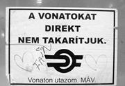 Fake sign by <b>Two</b>-Tailed Dog Party for Hungarian State Railways. Photograph ...