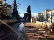A side street in Beit Hanina after a few hours of rain. Many streets have n...