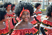 Girls dressed as  Negritas Puloy  during Cartagena Independence <b>Youth</b> Parad...