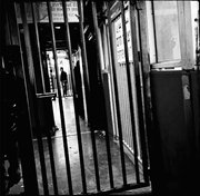 Inside the <b>checkpoint</b>. After having passed through turnstiles and metal cor...