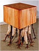 Kendra Frorup,  Butcher Block , 2007. Bronze, steel, cotton, and wood; 40 ×...