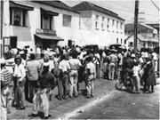 Onlookers at the Barnett <b>Street</b> Police Station, Montego Bay, where two memb...