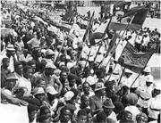 A section of the massive crowds that turned out to welcome His <b>Imperial</b> Maj...