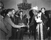 H.I.M. Haile Selassie presenting a gold medal to Prince Emanuel of the Ethi...