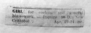 """Anonymous, """"GIRL—for cocking and general housework,"""" 1922, newspaper clippi..."""