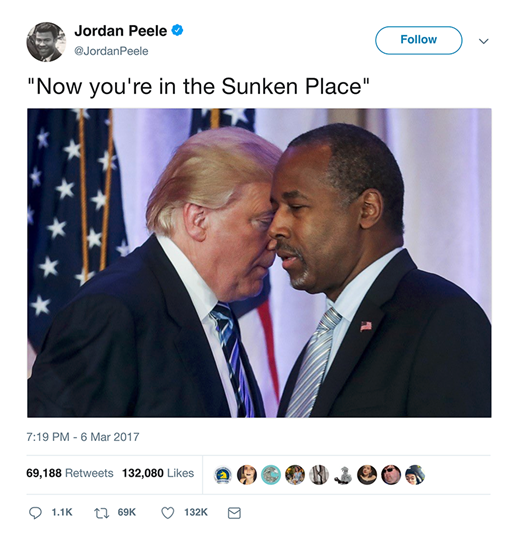 From the Twitter account of Jordan Peele, director of Get Out, signifying on the appointment of black conservative Ben Carson to Trump's cabinet