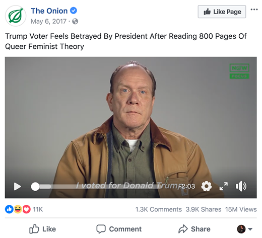 A screenshot from the Onion