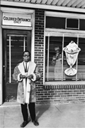 Baldwin in front of Royal Ice Cream Parlor in Durham, <b>North</b> Carolina, site ...