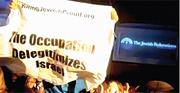 Young Jewish activists with Jewish Voice for Peace disrupt a speech by Isra...